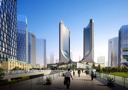 空中步道看办公区核心建筑