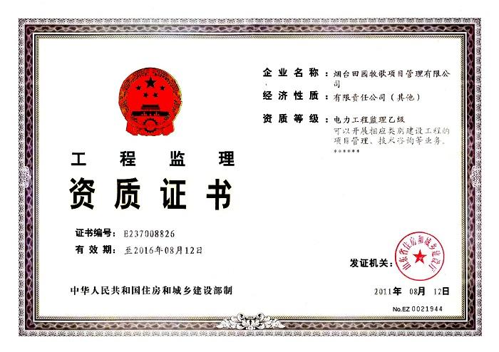 资质证书电力乙级正本