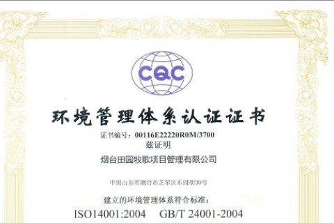 ISO环境管理体系认证证书